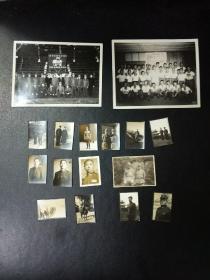 B6276 民国照片一组14张(用放大镜看到其中一张是二十二军的军官照三粒星的军衔,又有张是日本军人照,背后注明三十年夜袭皖南时在死亡的士兵衣袋中搜出)此组照片与之前我售出的,B6050 红色相片1940年拍摄电影《塞上风云》的西北摄影队在延安和西安的生活片段。49张为同一出处。
