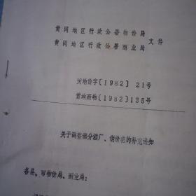 黄冈行署物价局文件 1982.21号