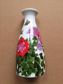 瓷器 小酒壶 景德镇瓷器 蝶恋花 诗画瓷器 上口径4.2cm,下底7cm,高14.6cm 颐和园小酒壶