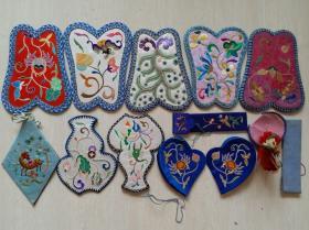 清末民国时期打籽绣等多种传统手工绣花香囊,护耳,饰件等13件