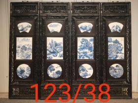 民国时期瓷板画一套,檀木框,做工精细,保存完好,尺寸见图