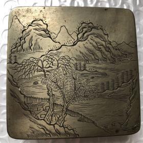 民国 老铜墨盒 上盖无款  底座有款 7.2 ×7.2 × 2.4 cm 成色好 具体请看图