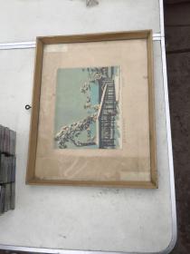 木刻版画<避暑山庄澹泊敬城殿雪后>带框保真