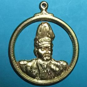 民国袁世凯戎装半胸两面像银鎏金吊牌美品仅见