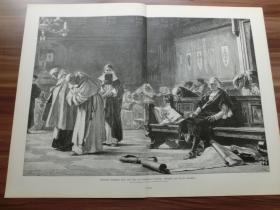 【现货】1889年巨幅木刻版画《被教士嘲笑的哥伦布》 (Christoph Kolumbus wird vom Rate von Salamanca verhöhnt) 尺寸约54.2*40.8厘米(货号600153)