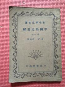 中国历史表解   第一册  民国版