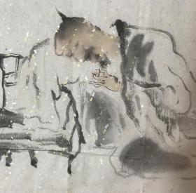 【来自画家本人,保证真迹】【强烈推荐名家精品】【姚卫国】中国美术家协会会员,国家一级美术师,邢台市美术家协会主席,河北画院国画院研究员,河北省美术家协会常务理事。 水墨大写意人物画《知己》(34×138cm)