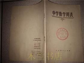 老教辅  中学数学用表 中小学通用教材数学编写组 人民教育出版社 1978年1版  32开平装