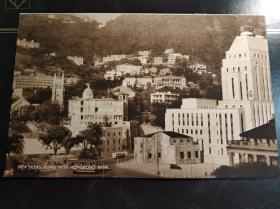 民国香港中环英皇加冕装饰建筑物老照片印刷品一张