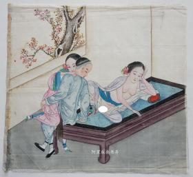 清代绢本设色《榻上春色》佚名风月作品