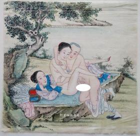 清代绢本设色《湖畔云雨》佚名风月作品