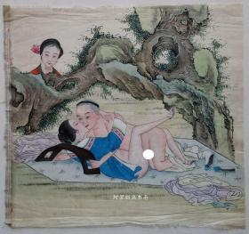 清代绢本设色《树下云雨》佚名风月作品