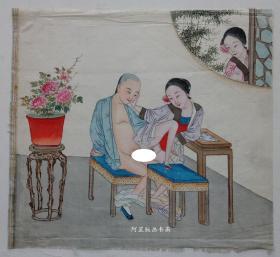 清代绢本设色《凳上云雨》佚名风月作品