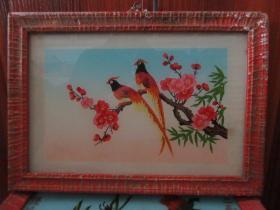 七、八十年代花鸟玻璃画,,品如图,似是手工绘制,经典怀旧91