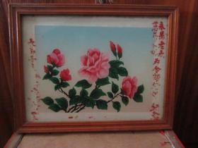 七、八十年代花鸟玻璃画,,品如图,似是手工绘制,经典怀旧92