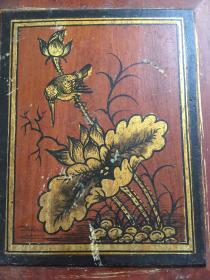 民国时期 描金花鸟图 19.9x16.5cm 荷花、飞鸟 可以装框,作装饰挂件