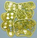 印花缕空大福(65×65mm,厚0.2)缕空金属画,金光闪闪,照相反光!实物更美!可制作豪华请柬、邀请函和工艺品等