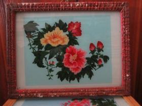 七、八十年代花鸟玻璃画,,品如图,似是手工绘制,经典怀旧95