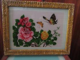 七、八十年代花鸟玻璃画,,品如图,似是手工绘制,经典怀旧97