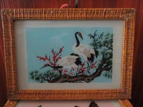 七、八十年代松鹤玻璃画,,品如图,似是手工绘制,经典怀旧98