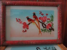 七、八十年代花鸟玻璃画,,品如图,似是手工绘制,经典怀旧99