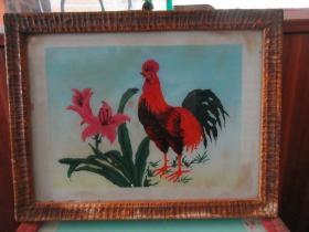 七、八十年代公鸡玻璃画,,品如图,似是手工绘制,经典怀旧101