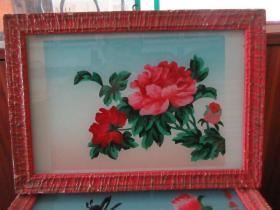 七、八十年代牡丹花玻璃画,,品如图,似是手工绘制,经典怀旧103
