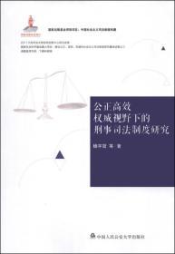 中国社会主义司法制度构建:公正高效权威视野下的刑事司法制度研究