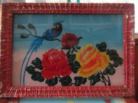 七、八十年代花鸟玻璃画,,品如图,似是手工绘制,经典怀旧107
