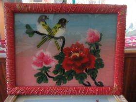 七、八十年代花鸟玻璃画,,品如图,似是手工绘制,经典怀旧109