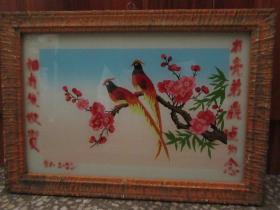 七、八十年代花鸟玻璃画,,品如图,似是手工绘制,经典怀旧110