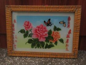 七、八十年代花鸟玻璃画,,品如图,似是手工绘制,经典怀旧111