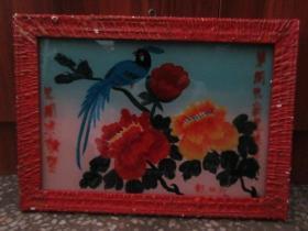 七、八十年代花鸟玻璃画,,品如图,似是手工绘制,经典怀旧112