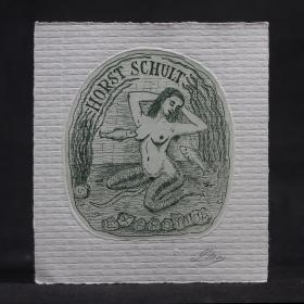 丹麥女版畫家Lorentz May 情色美人魚藏書票 鉛筆簽名