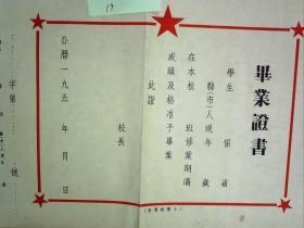 19、50年代空白小学毕业证书一份,