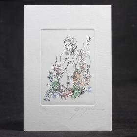 荷蘭女版畫家 Elly de Koster 情色藏書票 鉛筆簽名