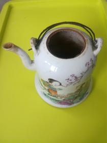 光绪年间李文枢书画仿八大山人笔意钟形瓷壶