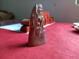 《山不转水转》雕寿星像老寿山石印章--桂林泰钰(粟泰钰)
