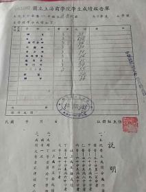 1948年国立上海商学院学生成绩报告单