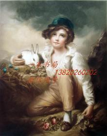 """1923年""""高档彩色美柔汀""""版画《美少年与宠物兔》— 雕刻家""""Sydney E. Wilson""""签名"""