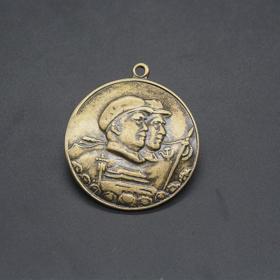 JZ1166红色收藏仿古勋章纪念章双人头纪念章