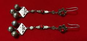 清代老银器美女戴的银耳环一对包老全品带红宝石情人节礼物