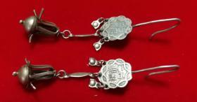清代老银器美女戴的银耳环一对包老全品双福字