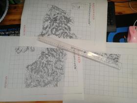 沂州府蒙阴县自治区域图甲乙丙3张【该地最早的按比例尺绘制的地图】