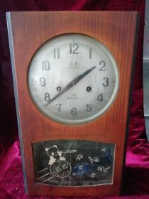 延边牌木质座钟(十五天星卫熊猫)敦化钟表厂