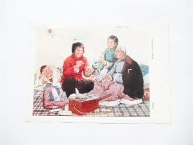 文革宣传画   大娘的病好了(中国画)16开散页