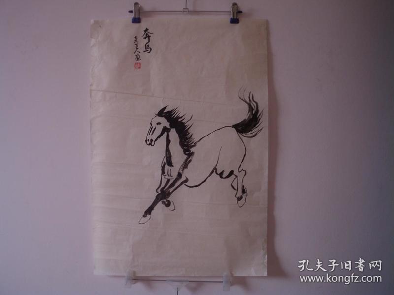 手繪國畫  奔馬。  47厘米寬  68厘米高  貨號12