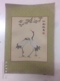中国发绣镜片 《双鹤 ---- 松龄鹤寿》    规格27*22