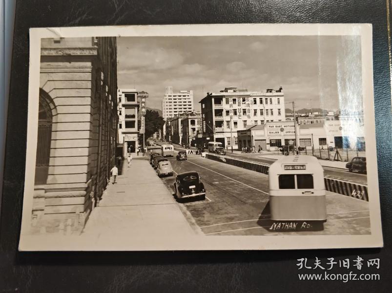 民國香港九龍彌敦道玫瑰酒店單層巴士街景實寄臺灣基隆老照片一張