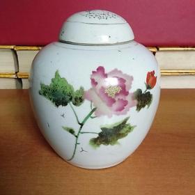 江西景德镇东风瓷厂出品 手绘花卉小罐 带盖